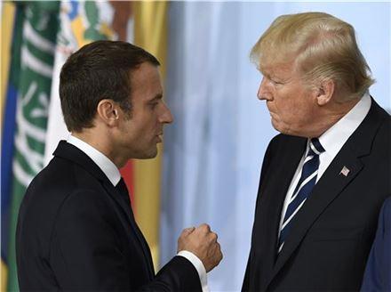 에마뉘엘 마크롱 프랑스 대통령(왼쪽)과 도널드 트럼프 미국 대통령. (사진=EPA연합뉴스)