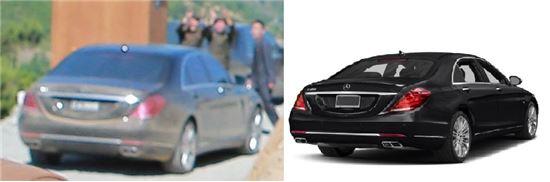 좌측이 김정은 위원장이 타는 것으로 추정되는 벤츠 차량. 우측은 신형 벤츠 S600.