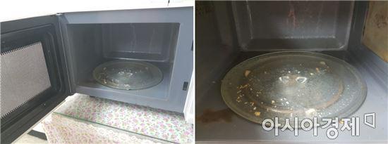 ▲서울 지하철 2호선 사당역 수유실에 놓인 전자레인지 내부 바닥이 이물질로 뒤덮여 있다.