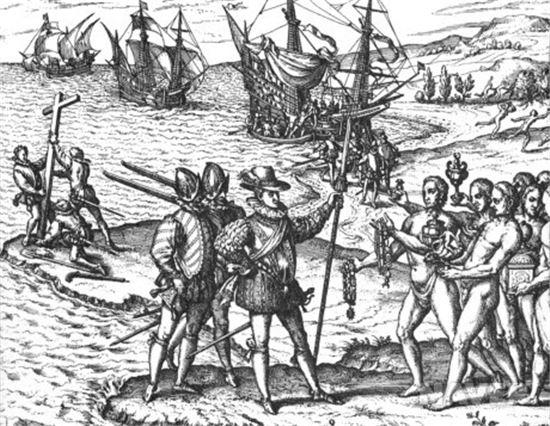 서인도제도에 당도한 콜럼버스(사진=위키피디아)