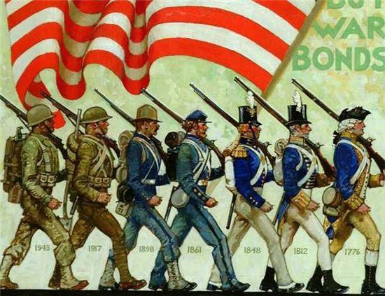 미국 독립전쟁 이후 2차대전 이전까지 미국 군복 변화 모습(사진=위키피디아)
