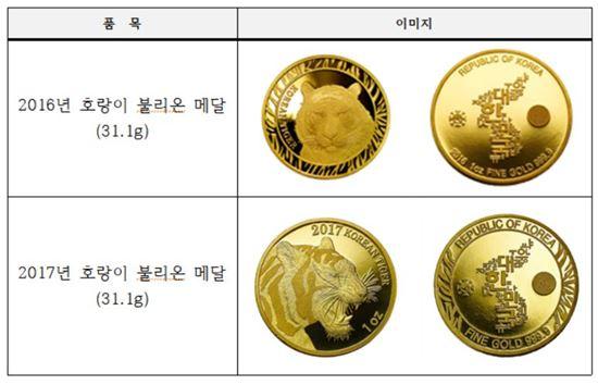 호랑이 불리온 메달 이미지 사진자료. 한국조폐공사 제공