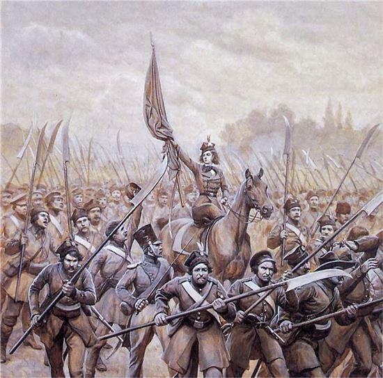1830년 폴란드 봉기 때 낫을 든 농민군 그림(사진=위키피디아)