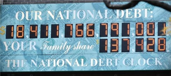 미국 뉴욕 맨하탄 거리에 위치한 미국 국가채무시계(National debt clock). 지난 2008월 9월30일, 미국 국가채무가 시계가 표시할 수 있는 최대 숫자인 10조달러를 넘어서면서 오류로 멈춘 바 있다.(사진=위키피디아)