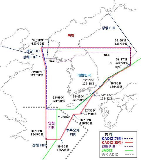 대한민국 방공식별구역을 나타낸 지도. 사진 = 국방부