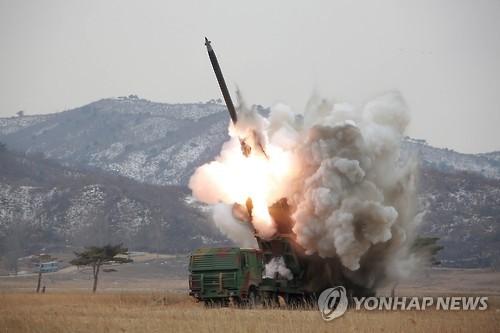 북한의 방사포 발사 장면/사진=연합뉴스