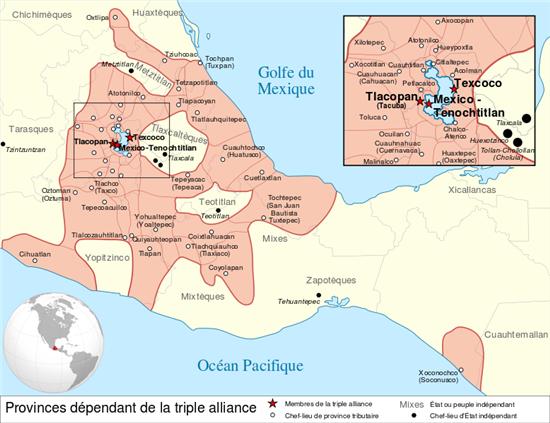 아즈텍 삼각동맹의 지배영역(사진=위키피디아)