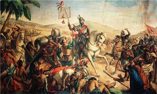 코르테스와 현지 원주민 부족들이 아즈텍 삼각동맹군을 물리친 오툼바 전투 그림(사진=위키피디아)