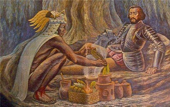 동맹인 원주민 부족민에게 상처를 치료받는 코르테스 그림(사진=위키피디아)