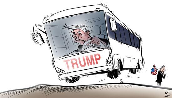 도널드 트럼프 대통령의 잇따른 즉흥 발언과 이에 대처하는 행정부 각료의 수습행보 사이에 엇박이 이어지며 트럼프의 전횡에 대한 비판여론이 어느 때보다 뜨거워지고 있다. 일러스트 = 오성수 작가