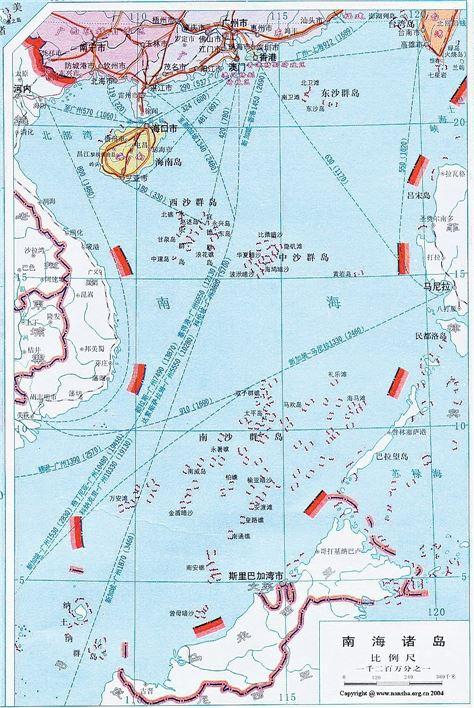 중국정부가 1953년, 공식지도를 배포하면서 등장한 '남해9단선(南海九段線)'. 상기한 지도에서는 굵은 붉은선으로 강조돼 있다.(사진=www.nansha.org.cn)