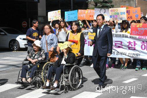 [포토]청와대까지 행진하는 위안부 피해 할머니들