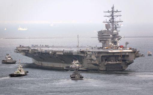 일본 가나가와(神奈川) 현 주일미군 요코스카(橫須賀)기지에 배치된 핵추진 항공모함 로널드 레이건호가 지난달 8일 오후 출항했다. (사진=연합뉴스)
