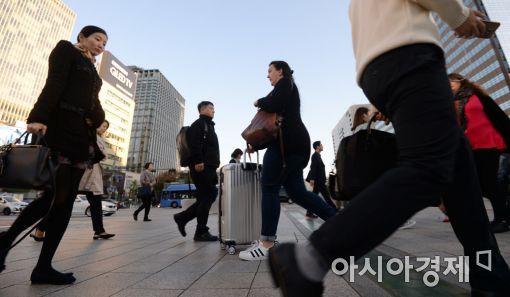[포토]출근길 든든한 옷차림 필수