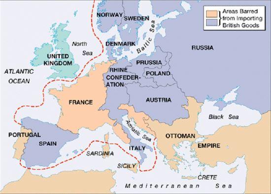 대륙봉쇄령 시행지역. 포르투갈을 제외하고 유럽 대부분 나라가 강제로 동참해야했다.(사진=astro.temple.edu)