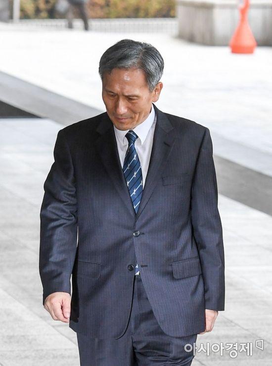 지난 7일, 검찰에 출석한 김관진 전 국방장관 모습