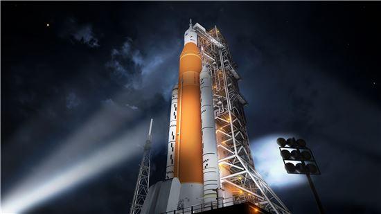 ▲오리온 우주선이 SLS에서 발사된다.[사진제공=NASA]