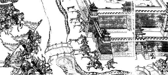 1621년 벌어진 영원성 전투도. 만리장성 변방에 딸린 작은 요새였던 영원성을 공략하던 청군은 크게 패해 물어갔다. 명나라 말기 만리장성은 각종 방어시설과 대포가 배치되면서 실질적인 방어선 기능을 했다고 평가받는다.(사진=위키피디아)