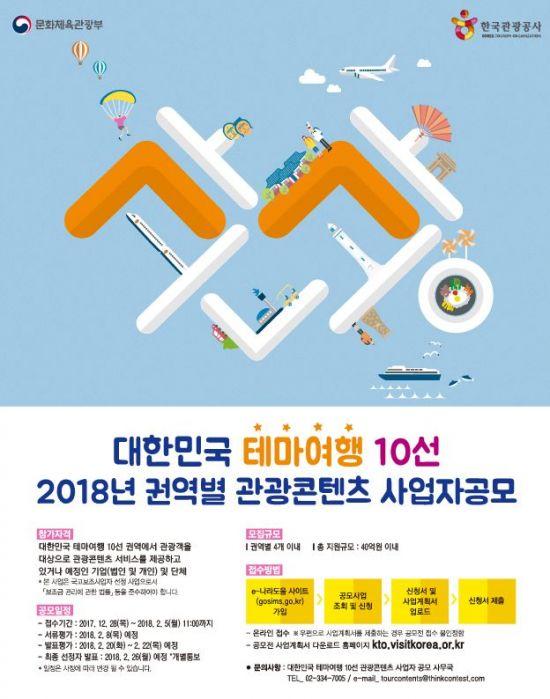 관광공사, 대한민국 테마여행 10선 관광콘텐츠 사업자 공모