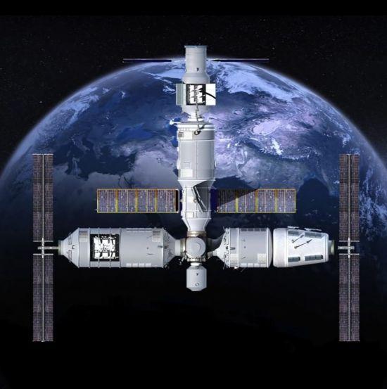 오는 2022년 중국이 독자적으로 건설할 우주정거장인 텐궁 3호의 상상도. 텐궁 3호는 오는 2024년 현재의 국제우주정거장(ISS)이 기능을 정지하면 세계 유일의 우주정거장이 될 예정이다. [사진출처=유튜브 화면캡처]