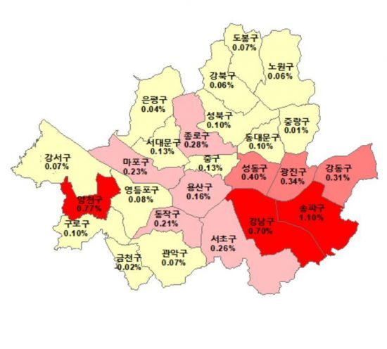 1월 둘째주(8일 기준) 서울 매매가격지수 변동률 현황(출처:한국감정원)