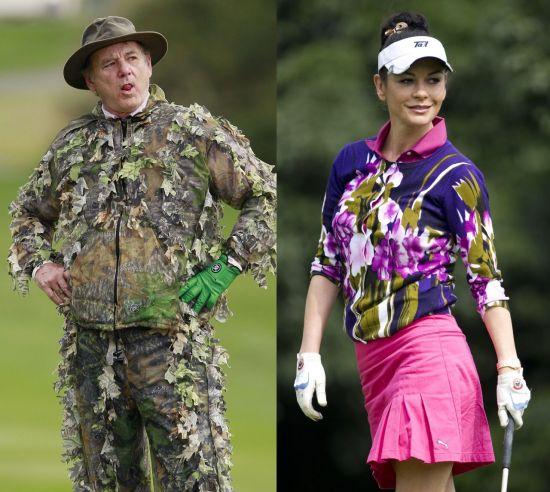 헐리우드의 골프광으로 소문난 코미디언 빌 머레이(왼쪽)와 여배우 캐서린 제타 존스.