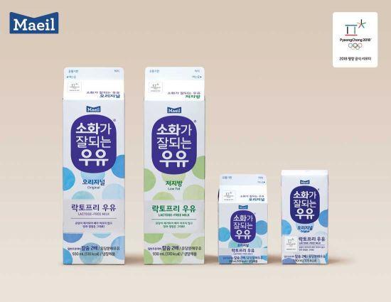 매일유업의 소화가 잘되는 우유 제품 4종.