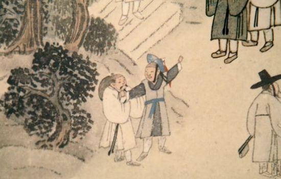 김홍도의 '부벽루연회도(浮碧樓宴會圖)'에 등장하는 포졸의 모습. 병자호란 이후 200년 이상 대외전쟁이 발생하지 않으면서 조선군의 이미지는 대체로 포졸복을 입은 모습으로 굳어져갔다.(사진=국립중앙박물관)