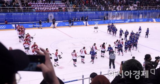 [포토] 남북 단일팀, 일본에 아쉬운 1-3 패배