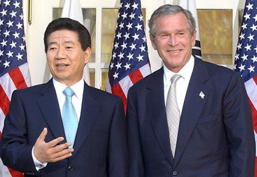 2005년 당시 노무현 대통령과 부시 미 대통령의 한미정상회담 모습.