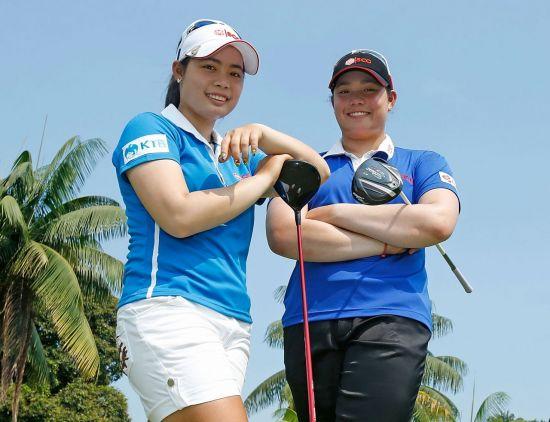 모리야(왼쪽)과 동생 에리야 쭈따누깐. 모리야가 지난 23일 LA오픈을 제패해 LPGA투어 역사상 두번째 '자매 챔프'가 탄생했다.