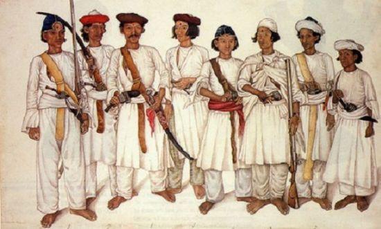 19세기 구르카족의 모습을 묘사한 그림. 1814년 영국은 구르카족과의 교전 이후 이들의 용맹성에 감명, 이들을 대거 용병으로 고용하기 시작했다.(사진=위키피디아)