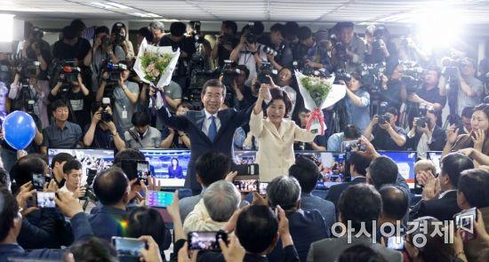 [포토] 서울시장 3선 성공한 박원순