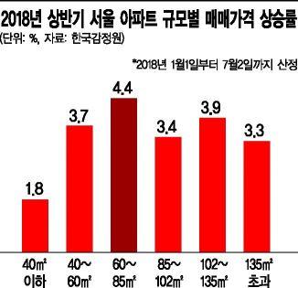 올 상반기 서울 아파트값 상승률, 중소형 '최고'