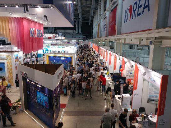 러시아·CIS(독립국가연합) 지역 최대 산업박람회인 '제9회 예카테린부르크 국제산업전 동반국가관 전경. 동반국가관에는 현대자동차, 두산인프라코어를 비롯해 105개 국내업체가 참가했다. 사진제공=한국기계산업진흥회