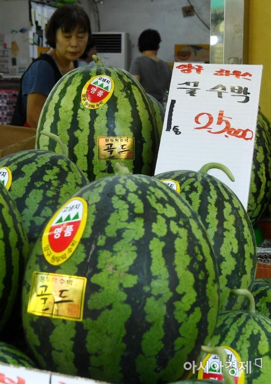 [포토] 서울 재래시장의 수박 가격