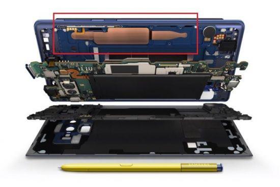 갤럭시노트9 내부의 쿨링 시스템(빨간 상자).