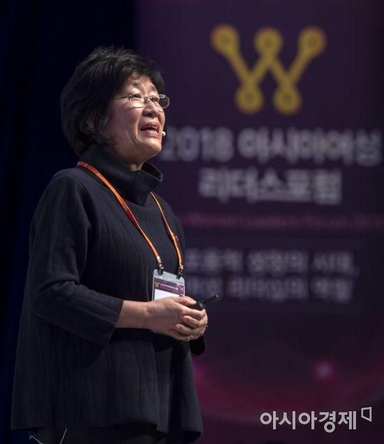 [포토] 여성리더스포럼에서 강연하는 장필수 교수
