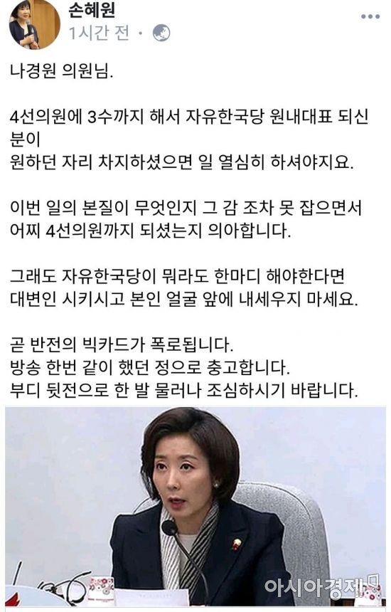 """손혜원, 박지원에 이어 나경원·금태섭도 '저격'...""""조심하시라"""""""