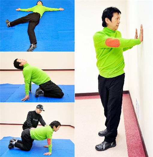 <사진1> 누워서 다리 넘기기(왼쪽 위)<사진2> 꼬임만들기(오른쪽)<사진3> 다리 앞 근육 풀어주기(왼쪽 가운데)<사진4> 팔과 허리, 등 근육 풀어주기(왼쪽 아래)