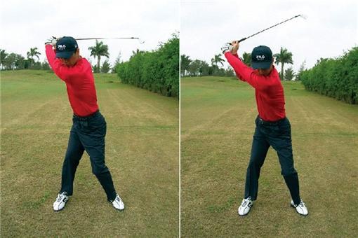 머리가 과도하게 움직이는 백스윙은 임팩트 이후 하체가 무너지기 쉽다.(왼쪽) 스탠스의 간격을 넓혀 하체를 견고하게 구축하고, 허리축이 움직이지 않는다는 느낌으로 백스윙을 가져간다.(오른쪽)