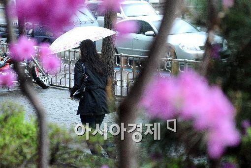 봄의 마지막 절기로 '봄비가 내려 백곡이 윤택해진다'는 곡우인 20일 오전 서울 여의도 한 길가에 시민들이 봄비를 맞으며 출근길을 서두르고 있다.