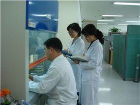 자료 사진. 서울프로폴리스 연구진들이 연구실에서 프로폴리스 성분테스트를 하고 있다. 기사와 관련이 없음.