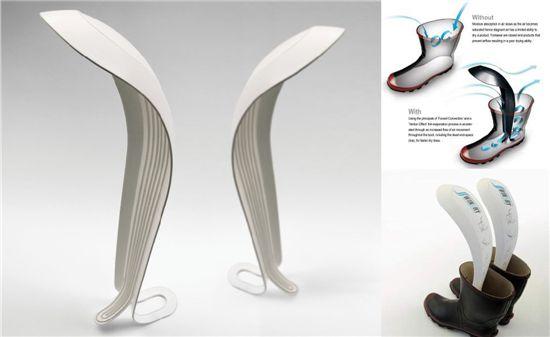 부츠 건조 용품 윈드라이(Windry), 바람의 흐름을 이용하여 부츠의 깊은 곳까지 말려주는 기구를 만들었다. ⓒJohn Lee