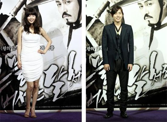 "Korean actress Han Ji-hye and actor Baek Sung-hyun at the premiere of ""Blades of Blood"" [Movie Production company Haneul]"