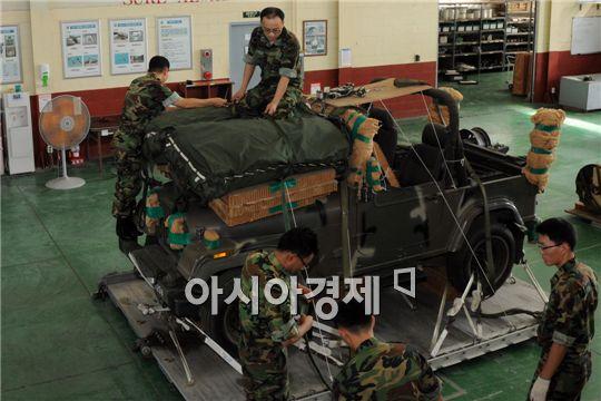 이날 차량 1대 포장하는데 교관 4명이 작업해 5시간이 걸렸다.