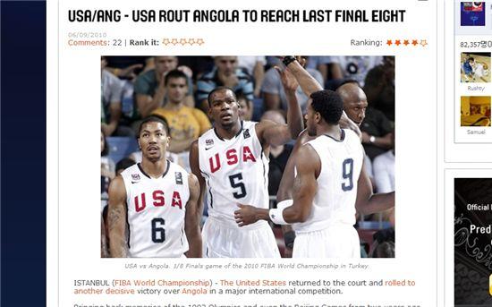 미국, 앙골라 55점차 대파…세계농구선수권 8강 안착