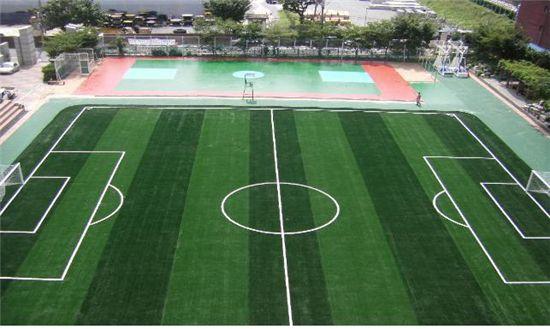 새롭게 단장한 마장충학교 잔디운동장.