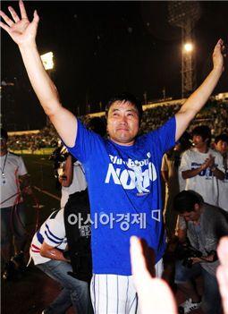 """[포토]'양신' 양준혁 """"만세!"""""""