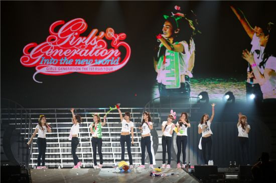 Girls' Generation members at their first solo concert in Taiwan. [SM Entertaiment]